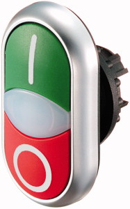 216700 - M22-DDL-GR-X1/X0 - Double actuator pulsador, +indicator light, green I/white/red 0